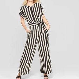 Women's Striped Short Sleeve Belted Wide Leg Jump